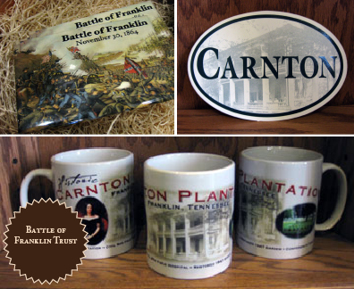 Battle of Franklin Trust Promotional Products including magnets, bumper stickers, and mugs.