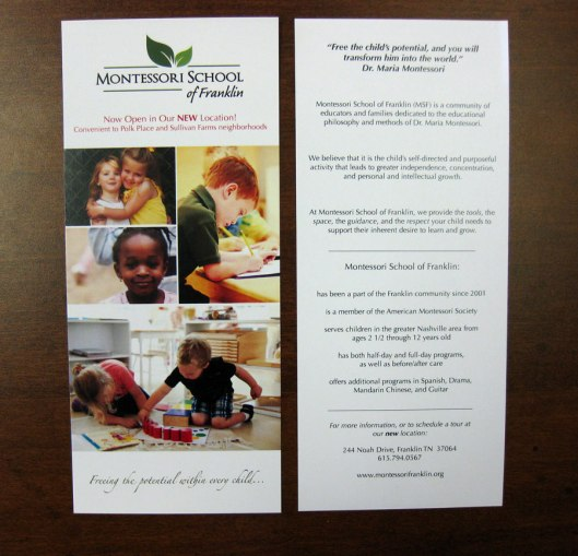custom, graphic design, design, layout and design, color pirinting, printer, printing, digital printing, digital fliers, color fliers, two sided fliers, Montessori School of Franklin, custom design, cardstock, flier examples, 37064, 37065, 37067, 37068, 37069, 37174, Franklin, TN, Franklin TN, Spring Hill, Spring HIll TN, Harpeth Graphics, offset printing, lithography